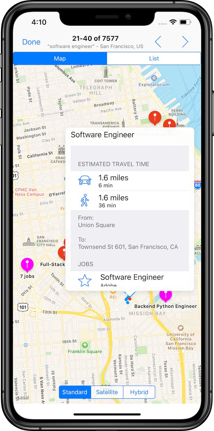 Check commute times to jobs