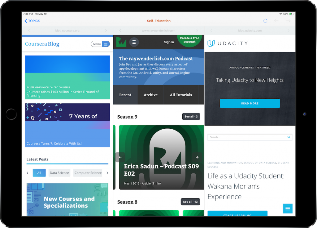 Browse multiple websites at once on iPad