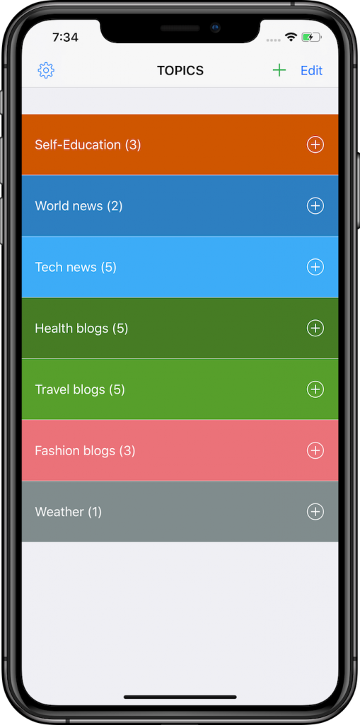 News Tracker app for iPhone